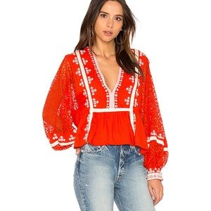 Free People Boogie All Night Embroidered Blouse